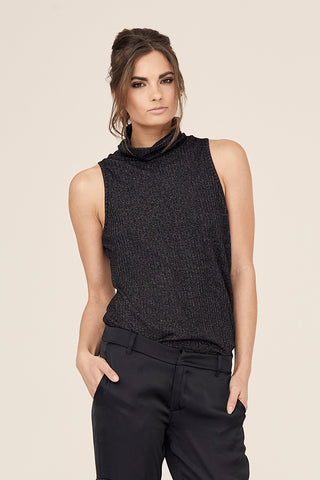 Lurex Sleeveless Turtleneck Top
