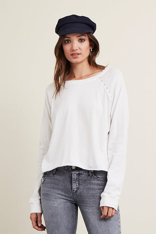 Studded Raw Hem Long Sleeve Tee