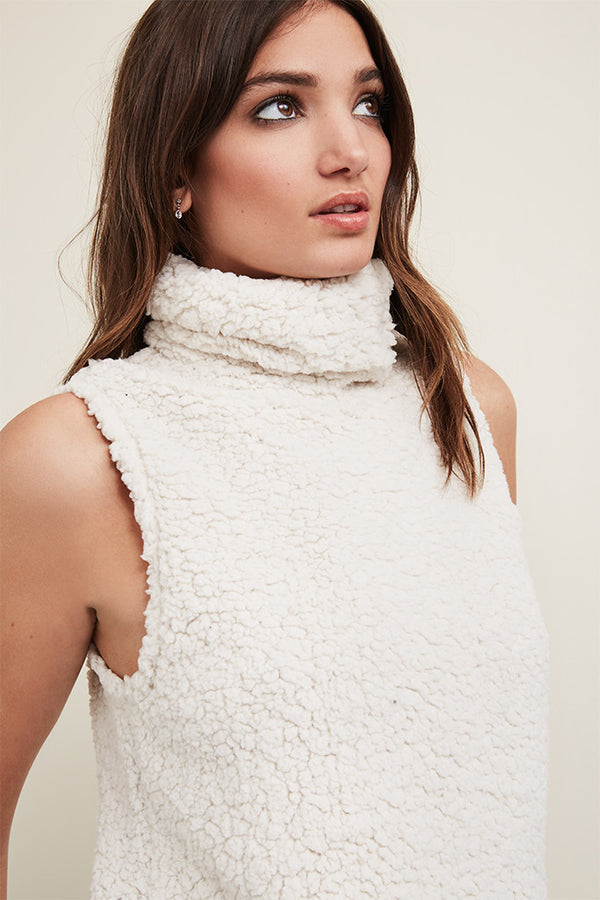 Sherpa Sleeveless Cowl Neck Pullover