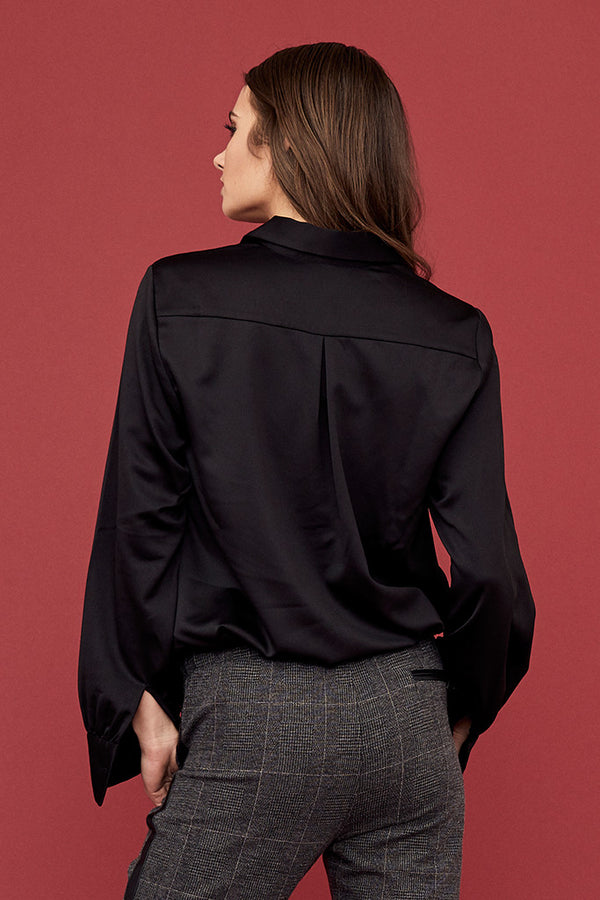 Satin Collared Henley Blouse