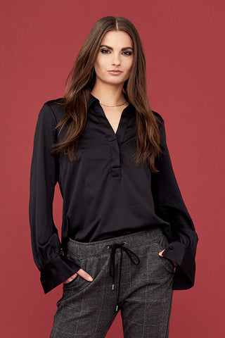 Satin Poly Silk Collared Henley Blouse