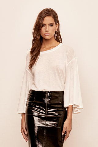 Jersey Flutter Sleeve Top