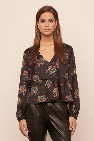Silky Floral Necktie Blouse w/ Bishop Sleeve