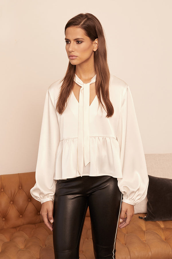 Satin Necktie Blouse w/ Bishop Sleeve