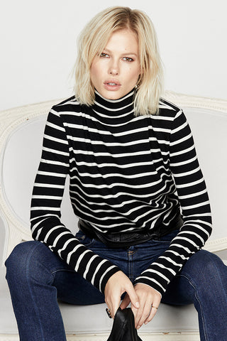 Long Sleeve Fitted Turtleneck in Stripe Jersey