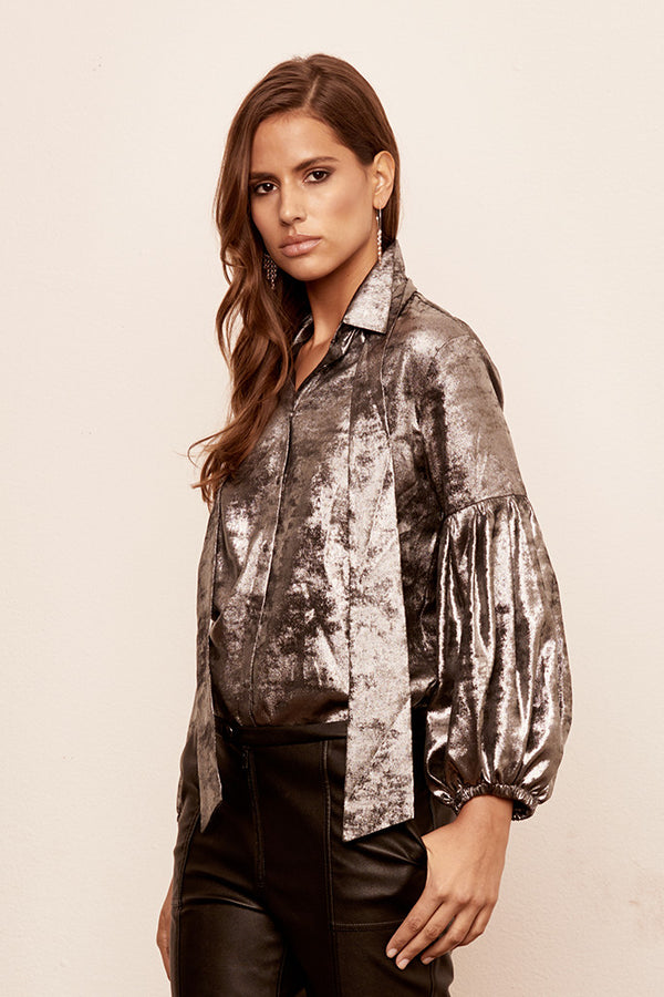 Metallic Silky Necktie Blouse w/ Pleated Sleeves