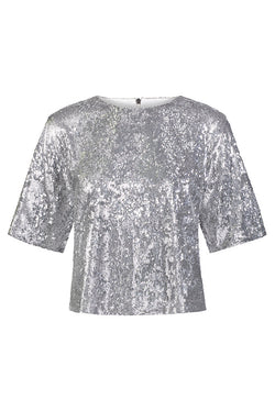 Sequin Drop Shoulder Crop Tee