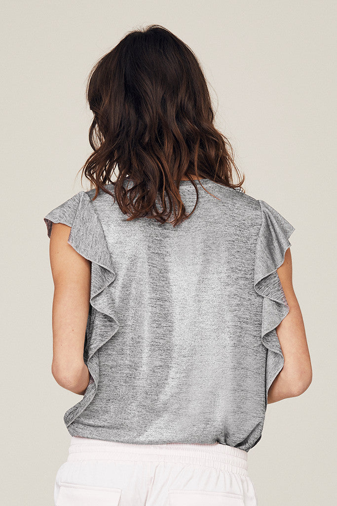 Heidi Metallic Ruffled Tank