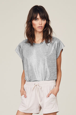Metallic Grace Raw Hem Sleeveless Top