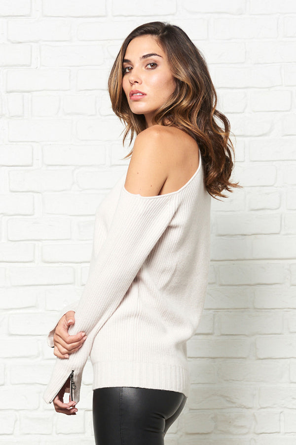 Asymmetrical Cold-Shoulder Sweater with Zipper Sleeve