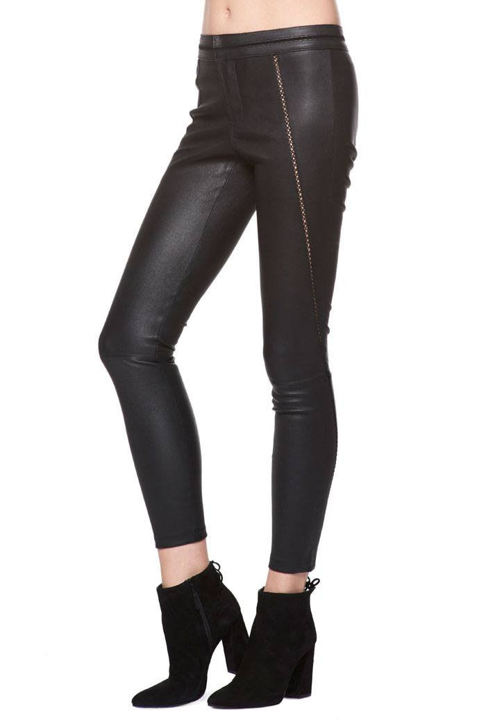 Pieced Lamb Leather Pant