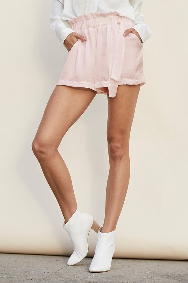 Crinkle Silky Woven Waist Tie Shorts