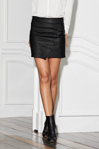 Pebble Vegan Leather Asymmetrical Wrap Skirt