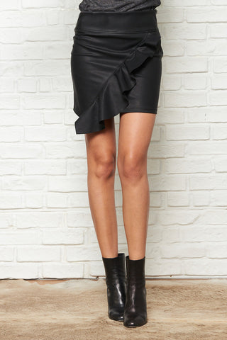 Pebble Vegan Leather Asymmetrical Ruffle Mini Skirt