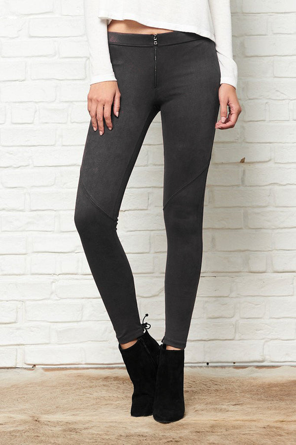 Black Suede Front Zip Legging