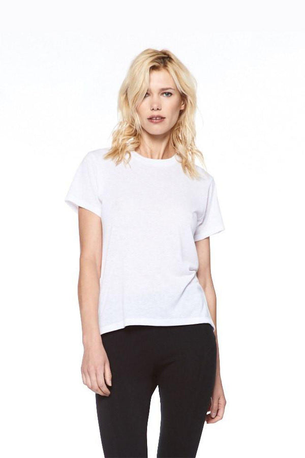 White Cotton Jersey High Low Crew Neck Tee
