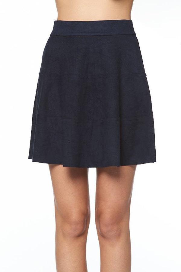 Micro Suede Raw Edge Tiered Skirt