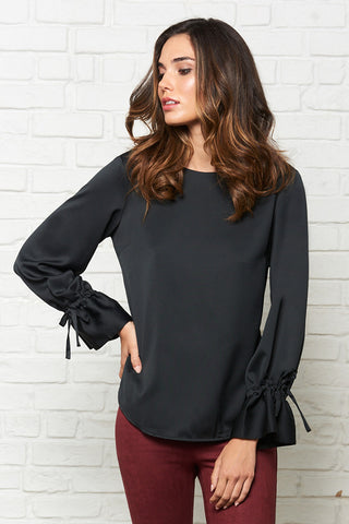 Tied Flute Sleeve Blouse
