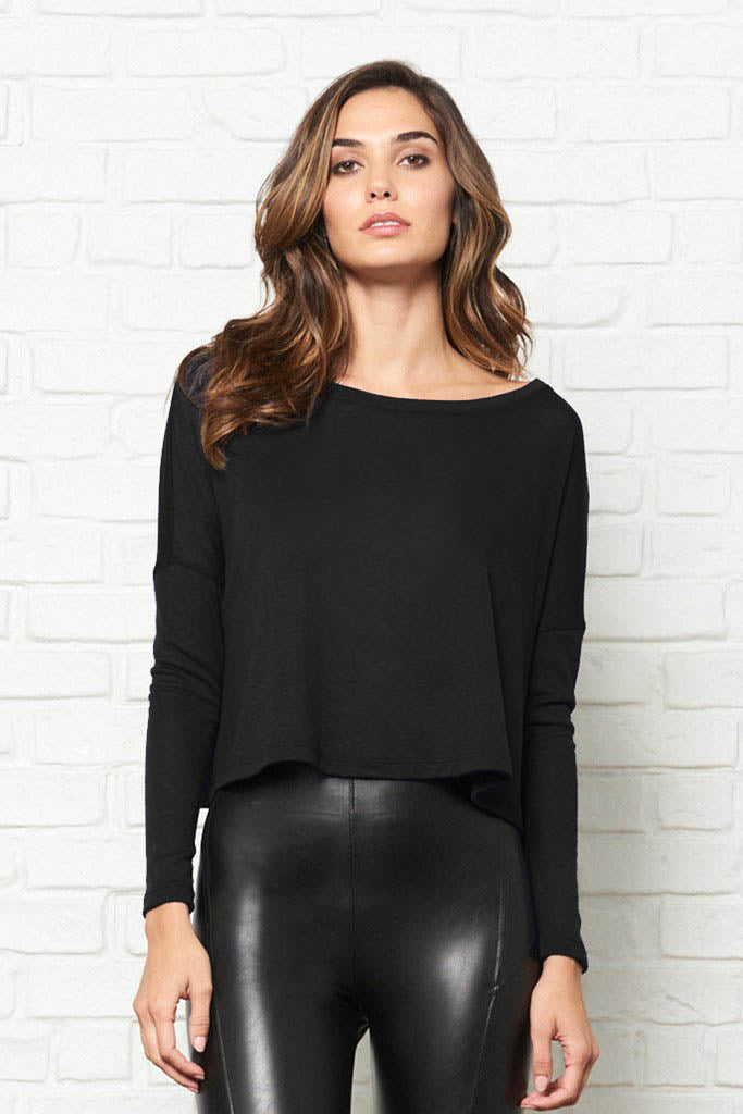 Long Sleeve Cropped Boxy Tee
