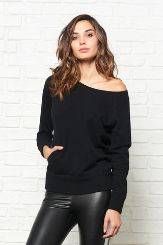 Womens Cashmere Off Shoulder Sweater