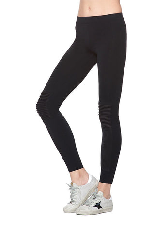 Moto Legging w/ Suede Pintuck Knees