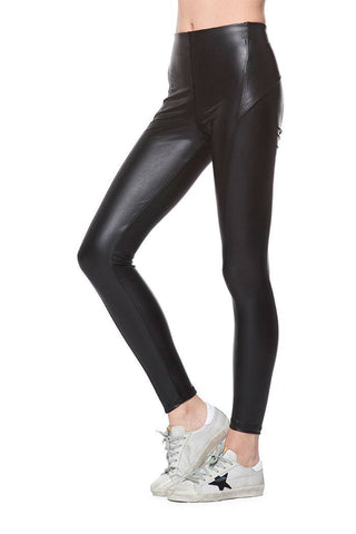 "Seamed High Rise Vegan Leather Legging - 10"" Rise"