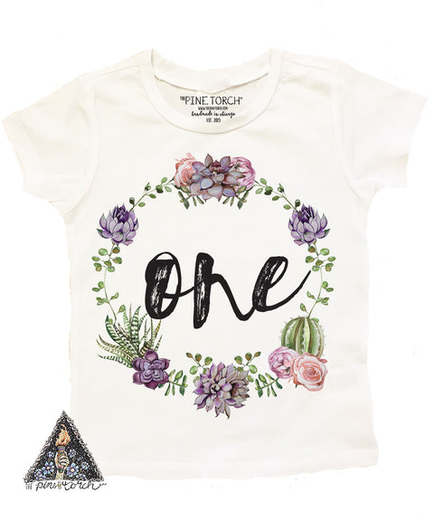 « CACTUS/SUCCULENT FIRST BIRTHDAY » KID'S TEE