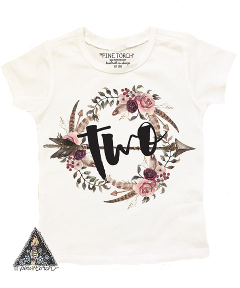 « BOHO FLORAL SECOND BIRTHDAY » KID'S TEE