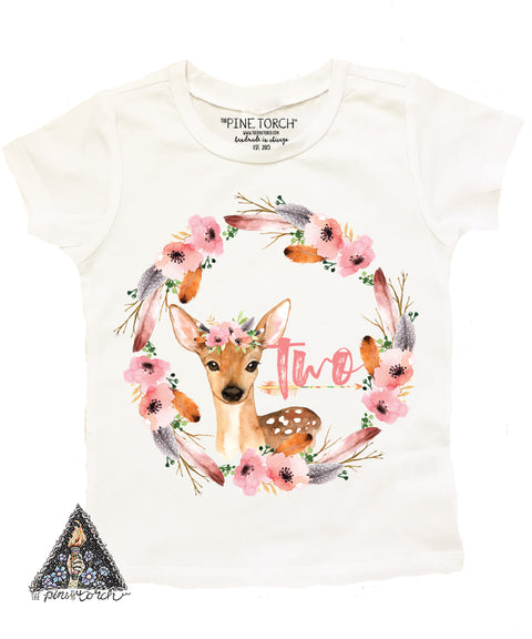 « BOHO DEER SECOND BIRTHDAY » KID'S TEE