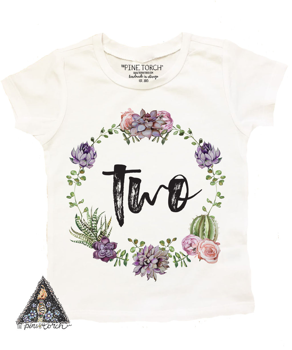 « CACTUS/SUCCULENT SECOND BIRTHDAY » KID'S TEE