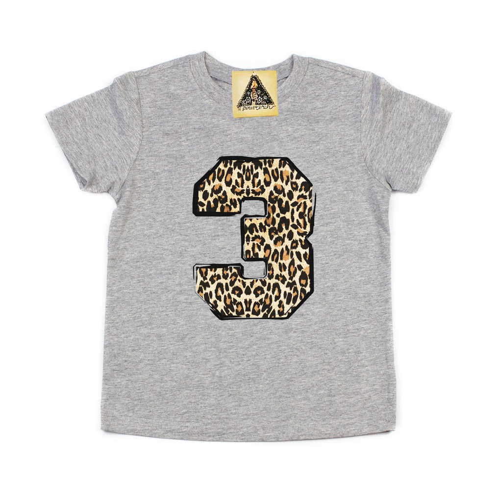 « THIRD BIRTHDAY GIRL LEOPARD » KID'S TEE