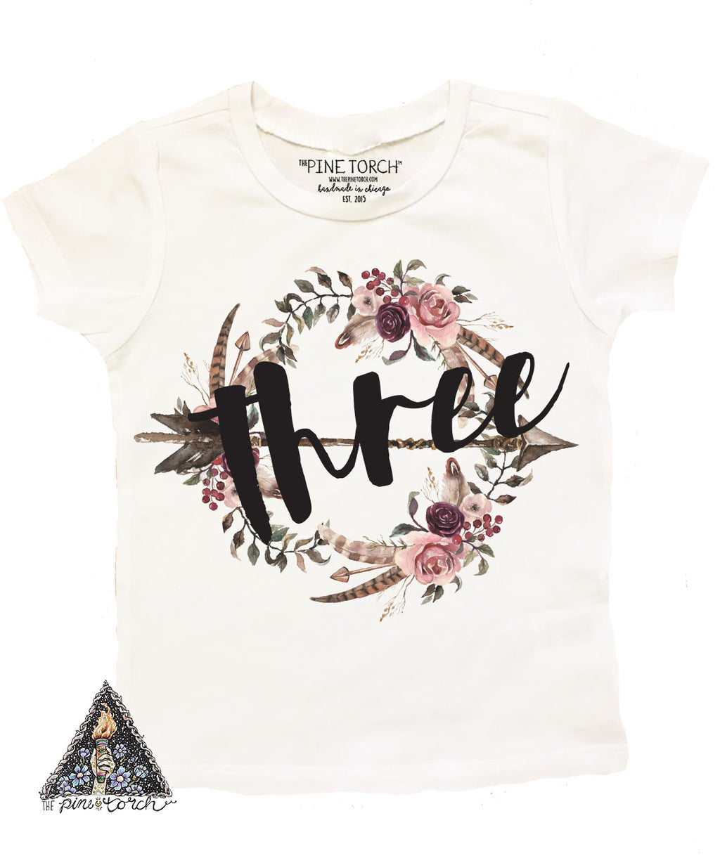 « BOHO FLORAL THIRD BIRTHDAY » KID'S TEE