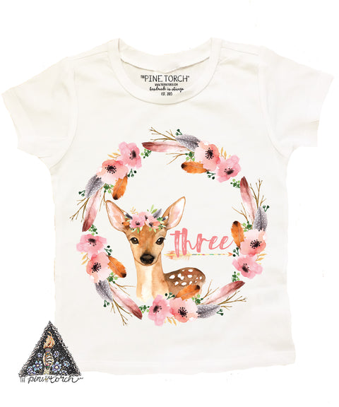 « BOHO DEER THIRD BIRTHDAY » KID'S TEE