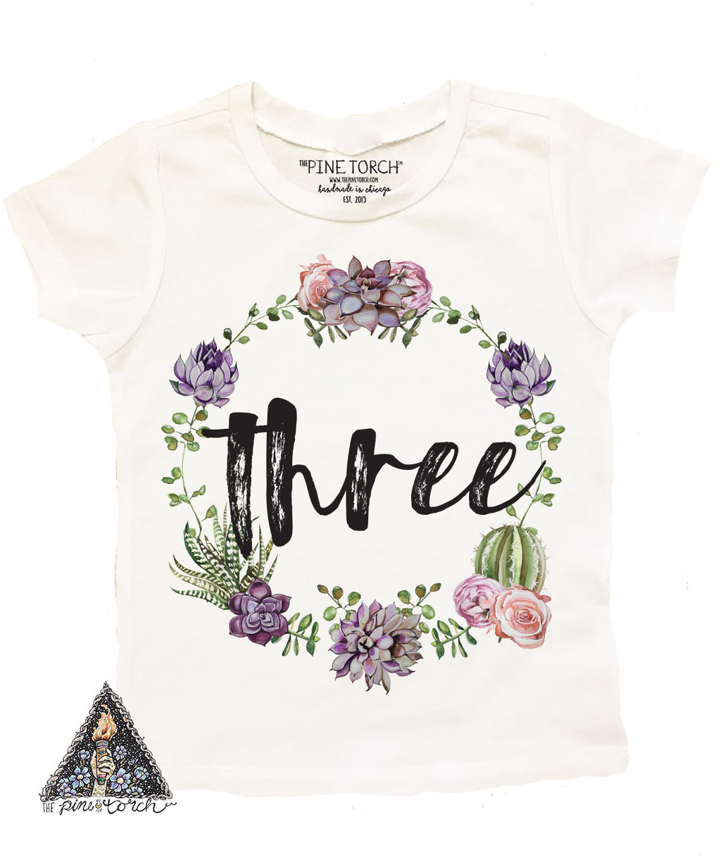 « CACTUS/SUCCULENT THIRD BIRTHDAY » KID'S TEE