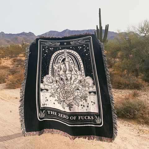 THE ZERO OF FUCKS // WOVEN FRINGE BLANKET