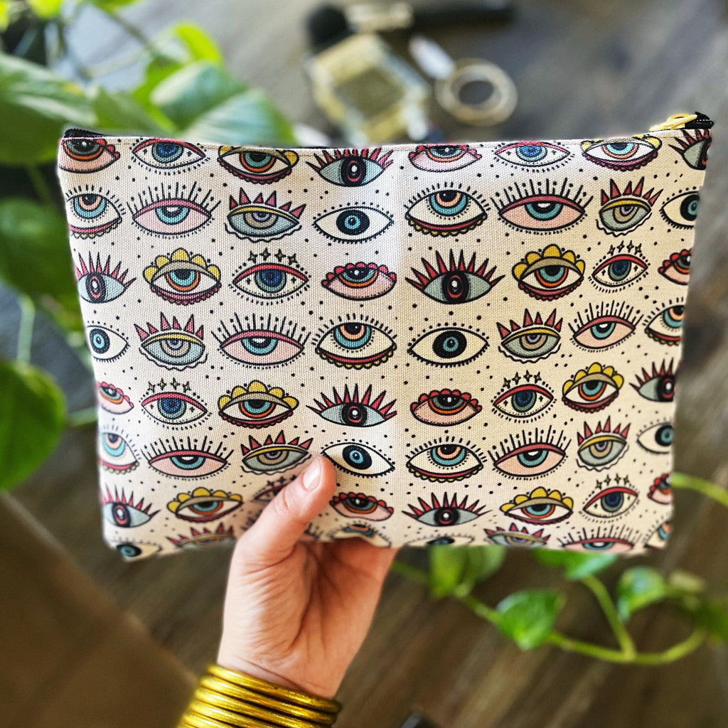 SLEEP WITH ONE EYE OPEN // COSMETIC ZIP POUCH