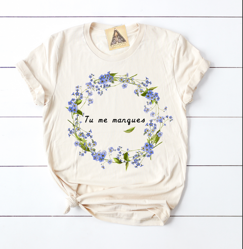 « TU ME MANQUES, YOU ARE MISSING FROM ME » CREAM UNISEX TEE