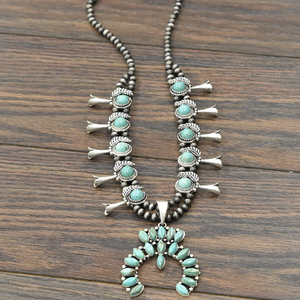 BLACK FRIDAY EXCLUSIVE << SQUASH BLOSSOM >> FULL NATURAL TURQUOISE NECKLACE