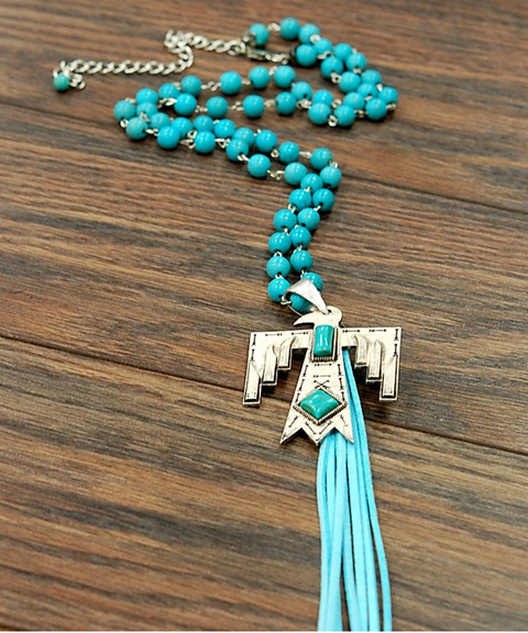 << ROLLING THUNDER >> NATURAL TURQUOISE NECKLACE WITH TASSEL