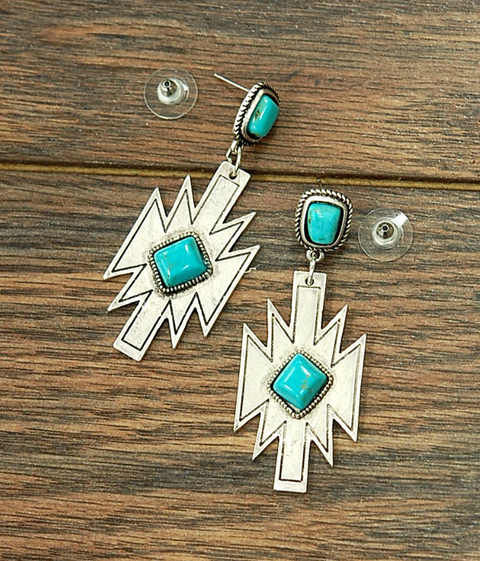 << DESERT DECO >> TURQUOISE EARRINGS