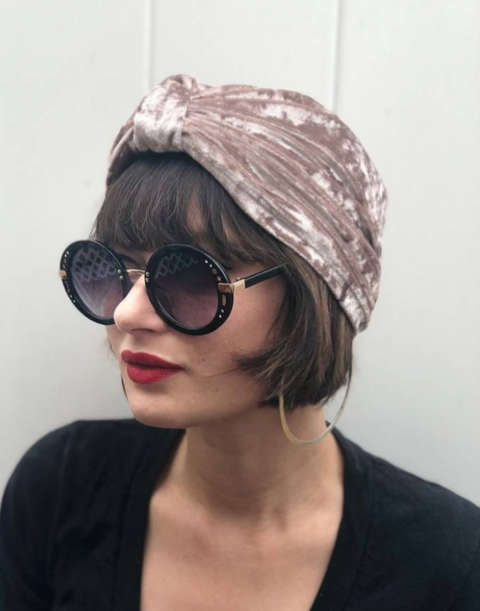 << CRUSHED CHAMPAGNE DREAMS >> CRUSHED VELVET TURBAN