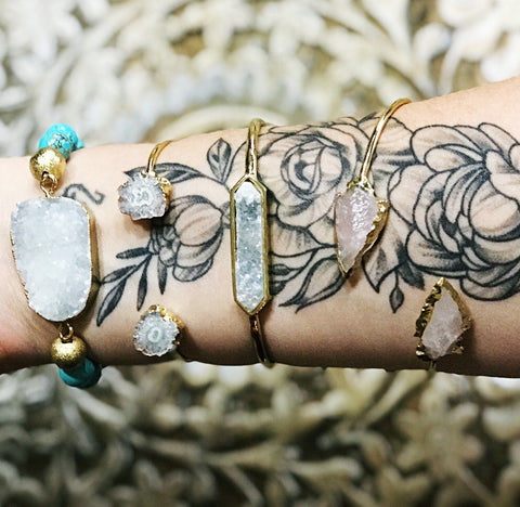 << SOLAR QUARTZ >> GOLD PLATED ADJUSTABLE BRACELET