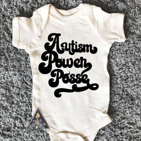 « AUTISM POWER POSSE » CREAM or GRAY BODYSUIT