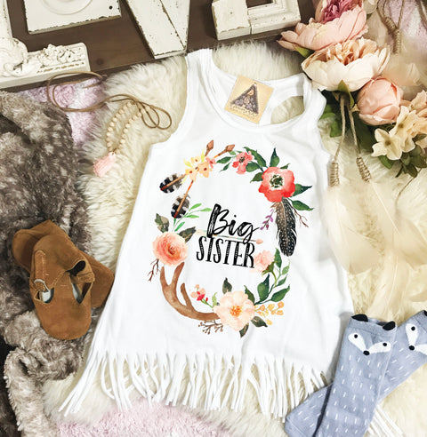 « BIG SISTER BOHO ANTLER » KID'S FRINGE DRESS