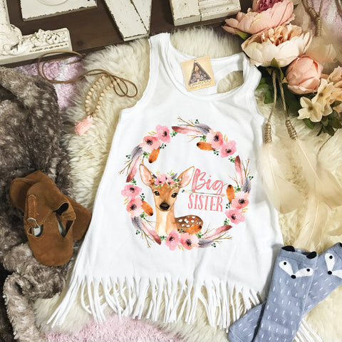 « BIG SISTER BOHO DEER » KID'S FRINGE DRESS