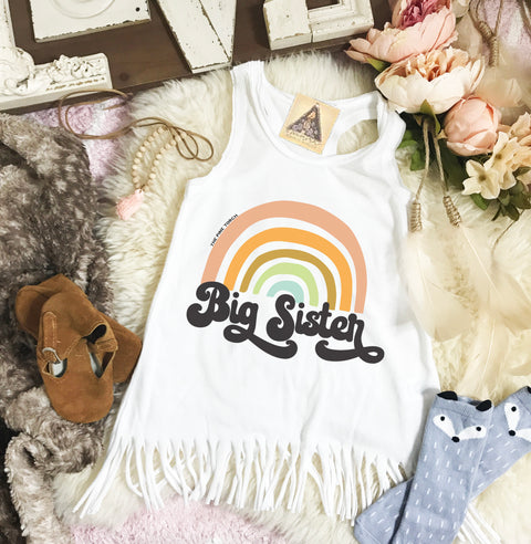 « BIG SISTER RETRO RAINBOW » KID'S FRINGE DRESS