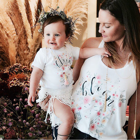 « BLOOM WHERE YOU ARE PLANTED » MOMMY & ME // White Racerback Tank + Bodysuit or Tee
