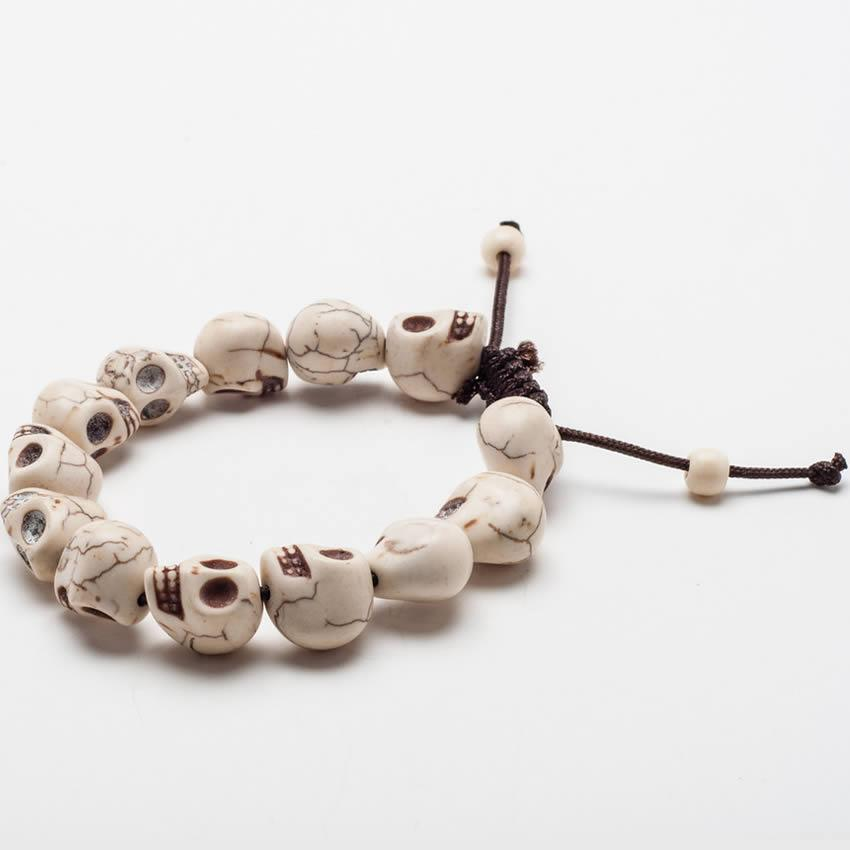 << TIBETAN SKULL BRACELET >> ADJUSTABLE HAND-CARVED BRACELET