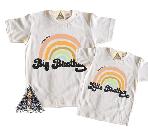 « BIG BROTHER + LITTLE BROTHER RETRO RAINBOW » KID'S TEE SIBLING SET