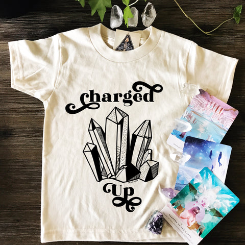 « CHARGED UP » CREAM ORGANIC KIDS TEE